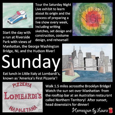 watercolor paintings drawings of NYC vacation trip itinerary plans