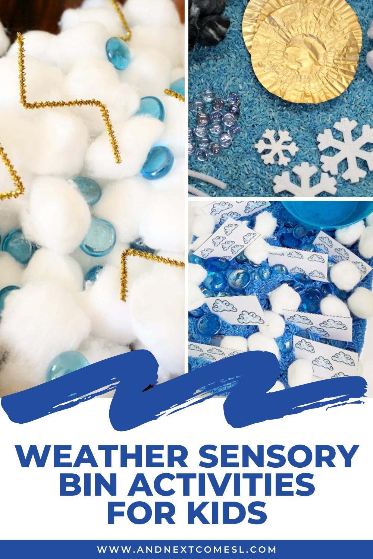 Weather sensory bin activities for toddlers and preschool kids