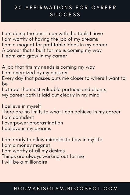 20 Affirmations For Career Success