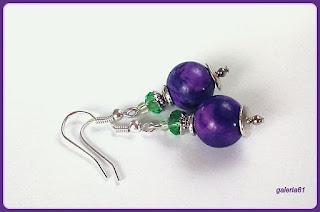 kolczyki, fioletowy ametyst i zielony kryształ Swarovskiego