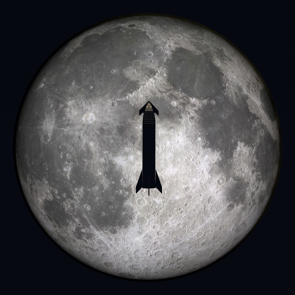 SpaceX Starship in high Lunar orbit by William Falconer-Beach