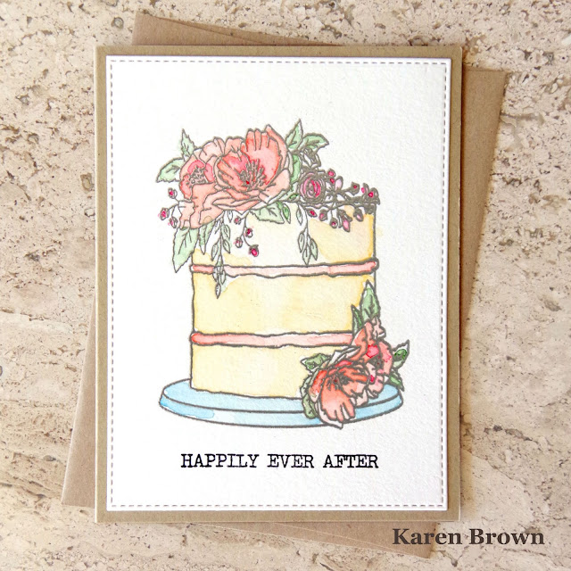 Water color Wedding Card on Brutus Monroe Aqua Pigment Paper with Kuretake watercolors.