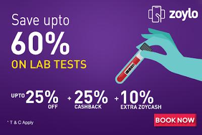 Save upto 60% on Lab Test Bookings through ZOYLO