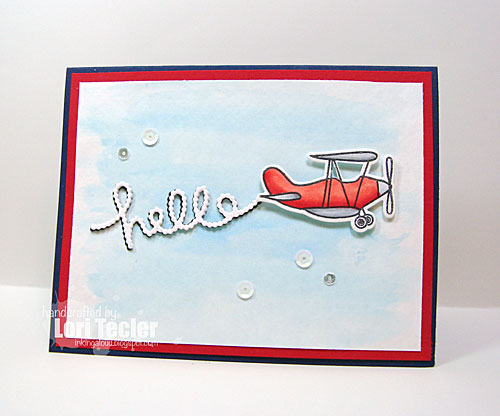 Fly By Hello card-designed by Lori Tecler/Inking Aloud-stamps and dies from Avery Elle