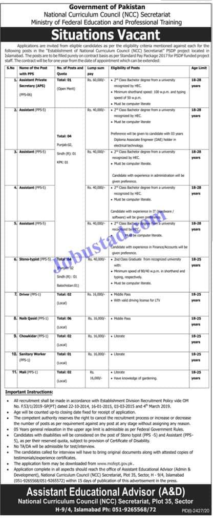 Jobs in National Curriculum Council NCC Secretariat Islamabad Nov 2020