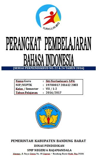 Js Aries Blog Perangkat Pembelajaran Bahasa Indonesia Kelas Vii Smp Kurikulum 2013 Revisi 2016