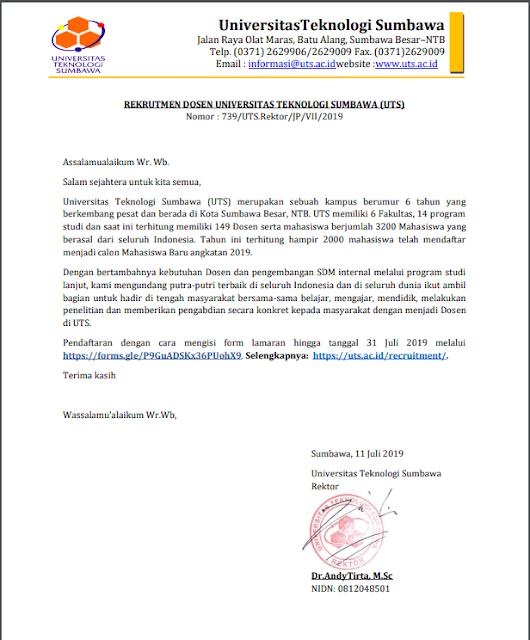 Lowongan Dosen Universitas Teknologi Sumbawa