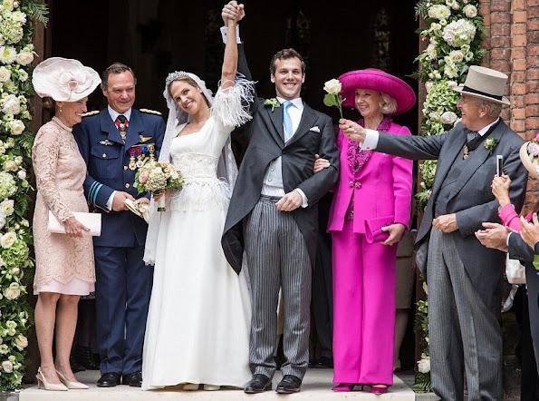 Royals wedding Dress - Princess Alix de Ligne married the Earl Guillaume de Dampierre, Grand Duke Henri and Grand Duchess Maria Teresa, Prince Guillaume and Countess Stephanie de Lannoy, Prince Félix and Princess Clair, Prince Amedeo of Belgium and Princess Elisabetta Maria