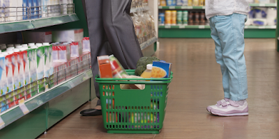 Food Safety Superhero Fighting Food-borne illness and food poisoning prevention -  Food Safety tips while at the grocery store. Keep meats in a bag separate from fresh produce.