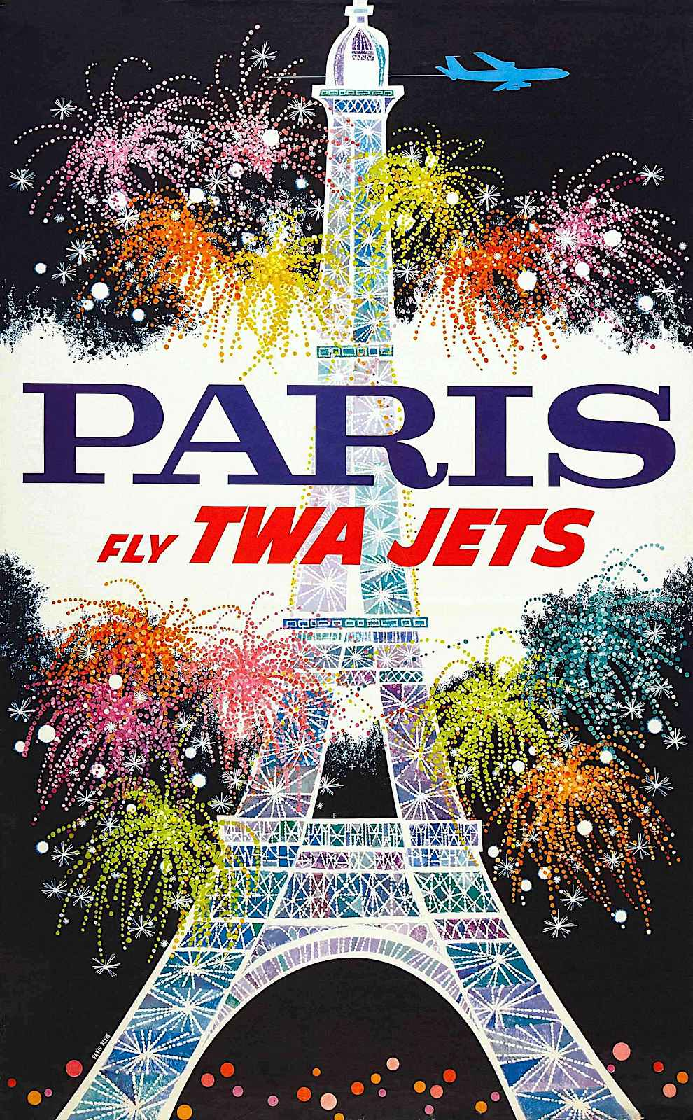 a David Klein 1962 poster for Trans World Airlines, the Eiffel Tower with fireworks