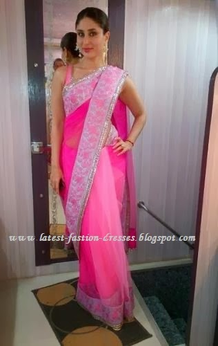 Bollywood pink colour saree in kareena