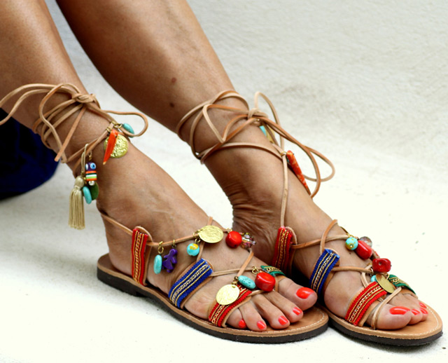 Elina Linardaki fashion designs, fashion design, famous fashion designers, Beautiful handmade sandals made in Greece by designer Elina Linardaki