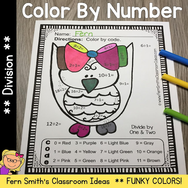 Funky Owl Color By Number Division