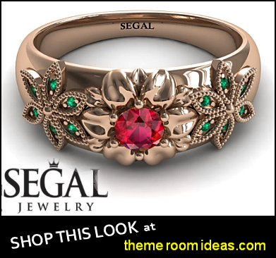 Victorian Engagement Ring Rose Gold Flower Ring Unique Engagement Ring Red Ruby Ring