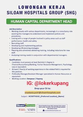 Lowongan Kerja Siloam Hospitals Group Sebagai Human Capital Departement Head