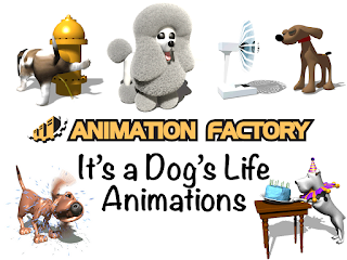 Clipart Image of a Dog's Life Animated Sticker Pack