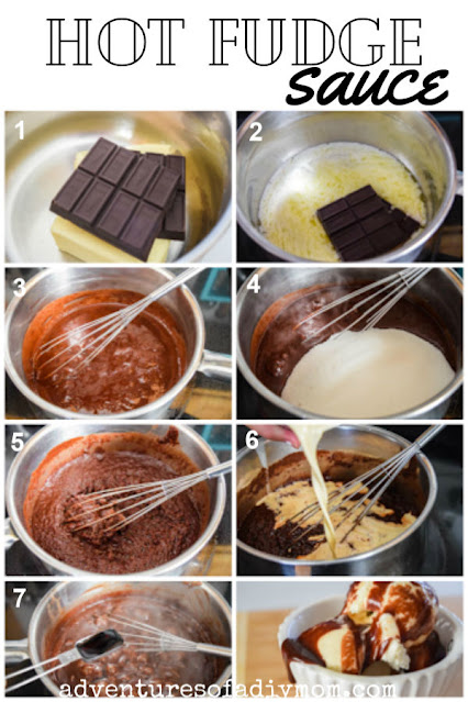 step by step collage for making hot fudge sauce