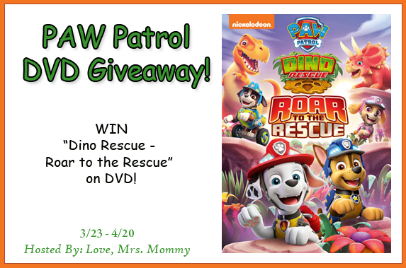 Paw Patrol DVD Giveaway, Dino Rescue, Roar to the rescue, Paw Patrol DVD, kids tv show