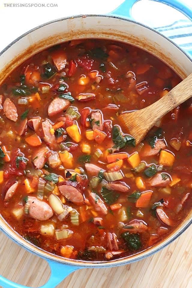 Easy Stovetop Smoked Sausage and Vegetable Soup