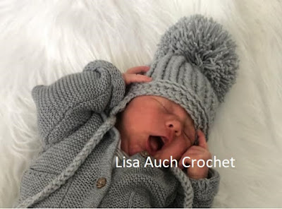 ribbed HDC crochet baby earflap pattern with pom pom