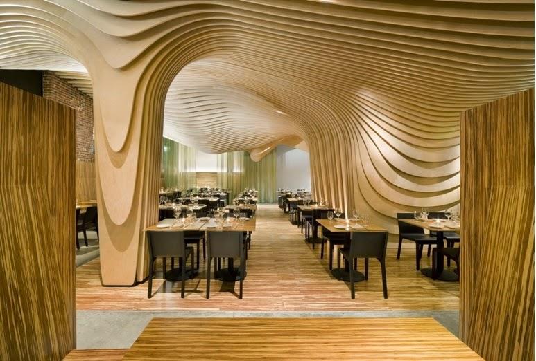 wavy slats structure wall restaurant