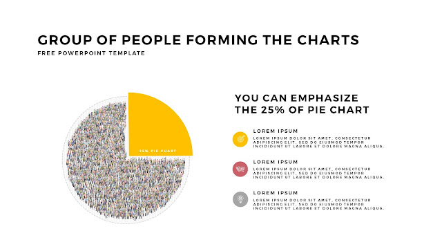 Free PowerPoint Template with Group of People Forming The Pie Chart for Emphasize 25 % Business Area with White Backgrounbd