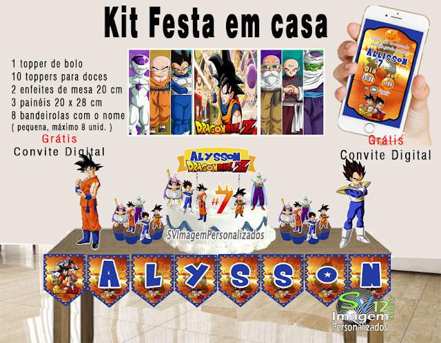Dragon Ball Z dicas e ideias para decoração de festa personalizados kit festa em casa