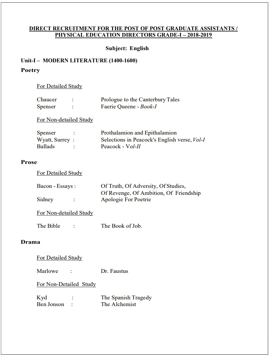 PGTRB ENGLISH SYLLABUS 2021 PDF DOWNLOAD
