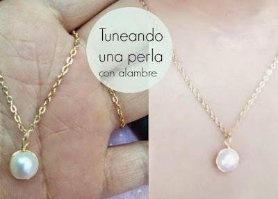 Perlas sujetas con alambre para colgar