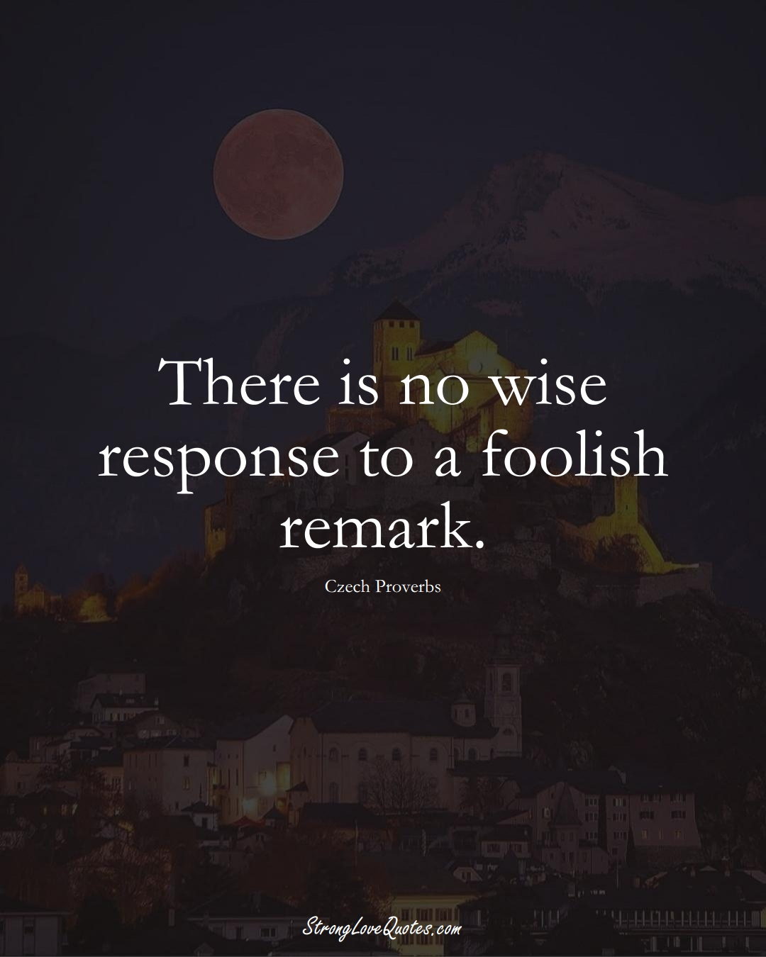 There is no wise response to a foolish remark. (Czech Sayings);  #EuropeanSayings