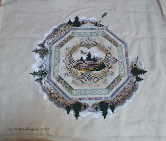 Alpine Seasons Garden - Chatelaine as at 02 April 2020 Fabric: 32ct Belfast Sand linen Threads: Recommended silk threads