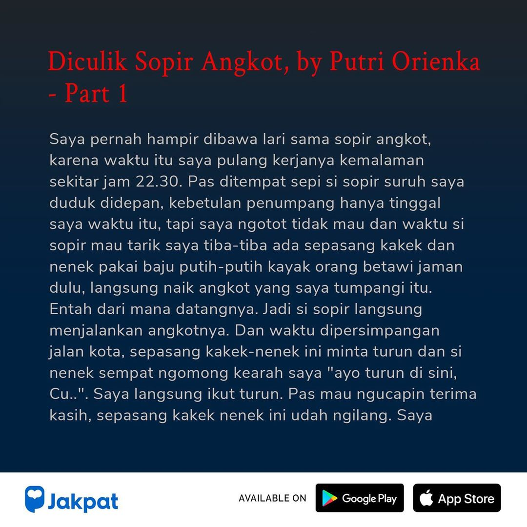 Kisah Misteri Diculik Sopir Angkot, by Putri Orienka Part 1