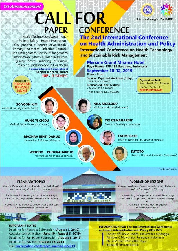 "The 2nd International Conference on Health Administration dan Policy*  _""International Conference on Health Technology and Sustainable Risk Management""_    *September 10-12, 2019* Surabaya"