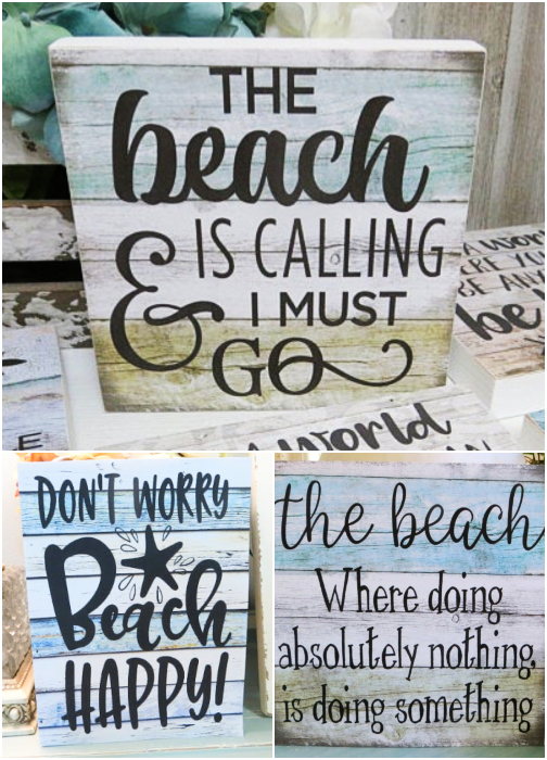 Small Beach Quote Wood Block Signs