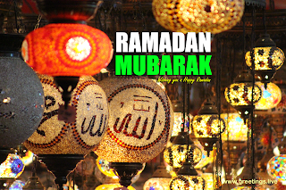 Ramadan celebrations with colorful lanterns greetings image Ramadan Mubarak