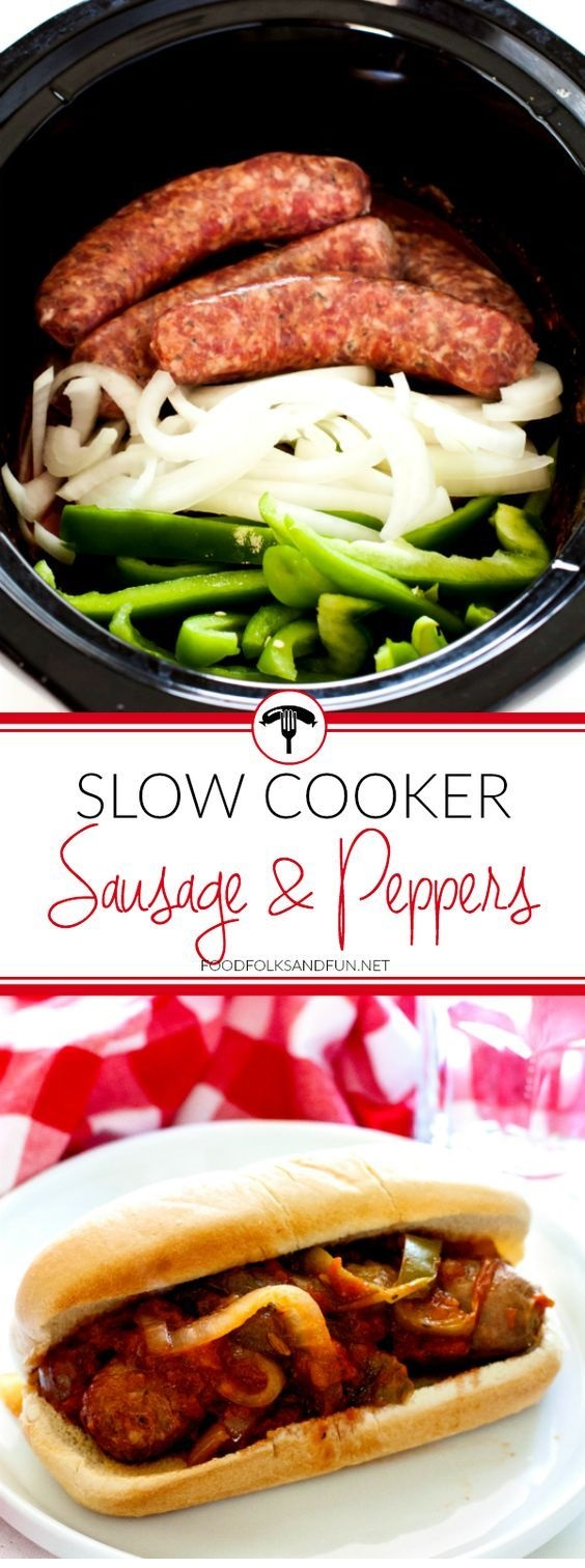 Sausage And Peppers Made In A Slow Cooker