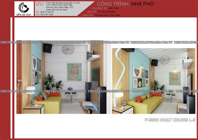 Mẫu thiết kế đẹp 2 tầng bán cổ điển mặt tiền 5m tại Long An Phong-sinh-hoat-chung