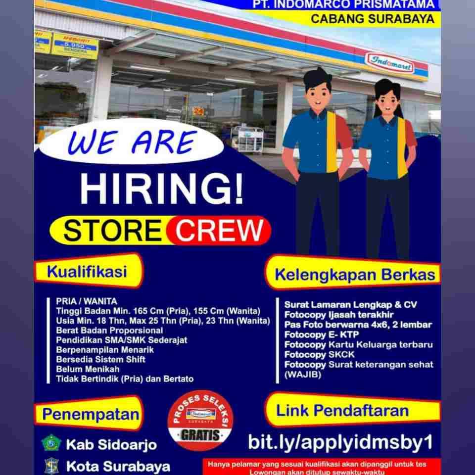 Lowongan Kerja Indomaret Surabaya Terbaru 2021 Lokerhariini Com