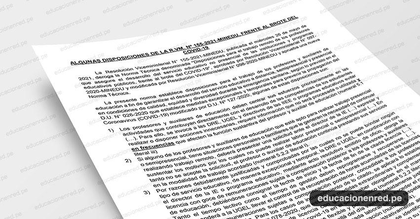 ANÁLISIS: Algunas disposiciones de la R. VM. Nº 155-2021-MINEDU, frente al brote del Covid-19