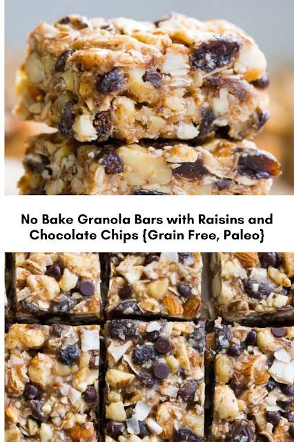 No Bake Granola Bars with Raisins and Chocolate Chips {Grain Free, Paleo}