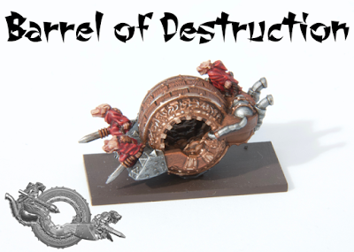 Unit consists of a single barrel of destruction model. Lead-free pewter, supplied unpainted and without bases.