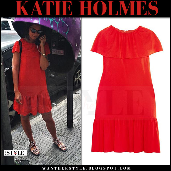 Katie Holmes in red ruffled mini dress vanessa seward delphes what she wore april 2017