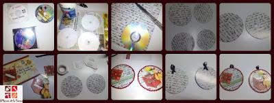 cd reciclado en adorno navideño