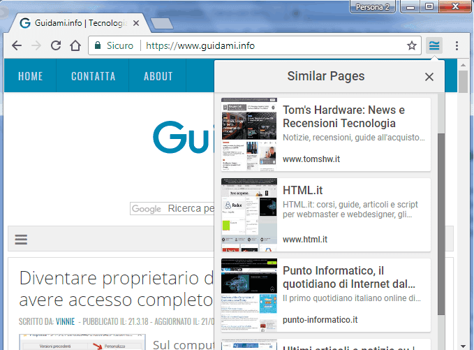 Google Similar Pages estensione Chrome
