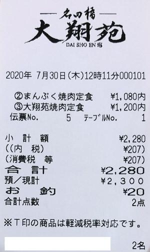 名田橋大翔苑 2020/7/30 飲食レビュー