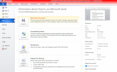 Microsoft word - File - Information about how to use Microsoft Word?