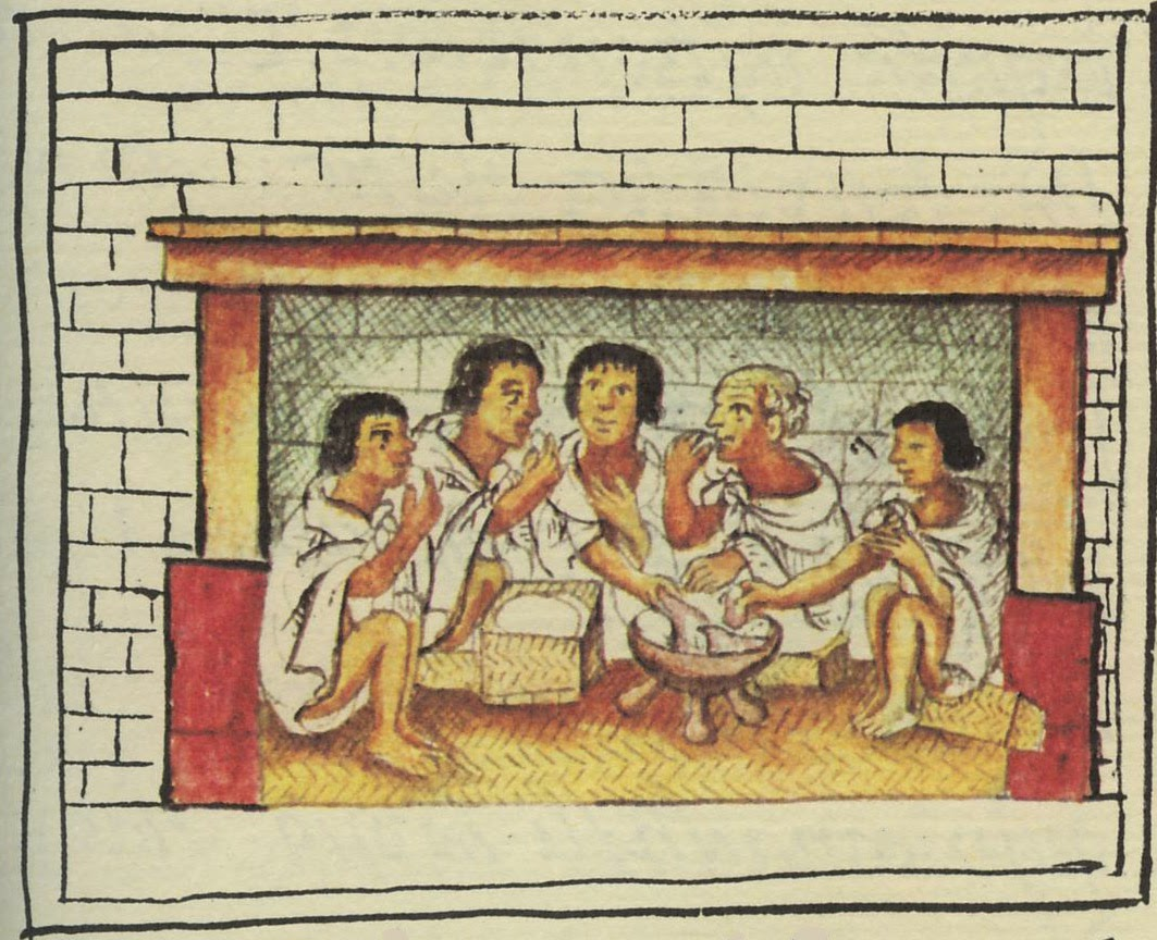 Aztecs sharing a meal