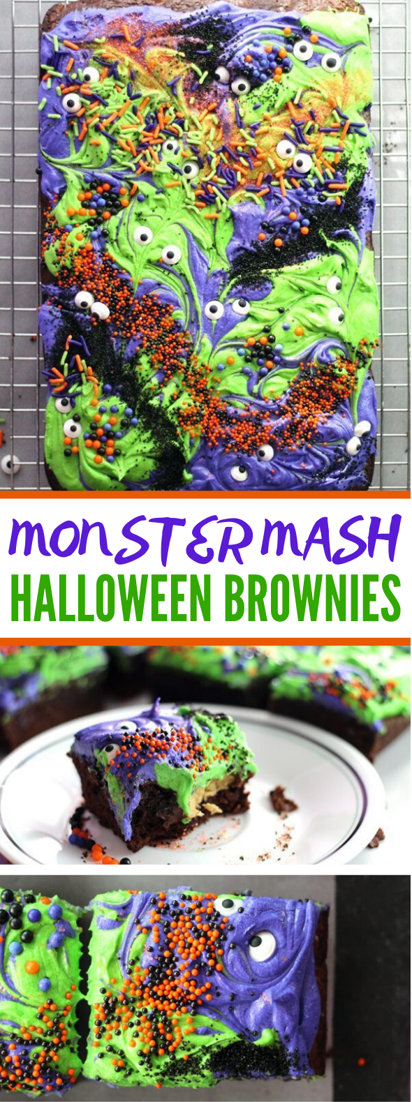 Scary-Cute Monster Mash Halloween Brownies #desserts #cake