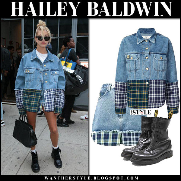 Hailey Baldwin in denim plaid patch jacket natasha zinko and black ankle boots vetements dr martens new york fashion week september 2017