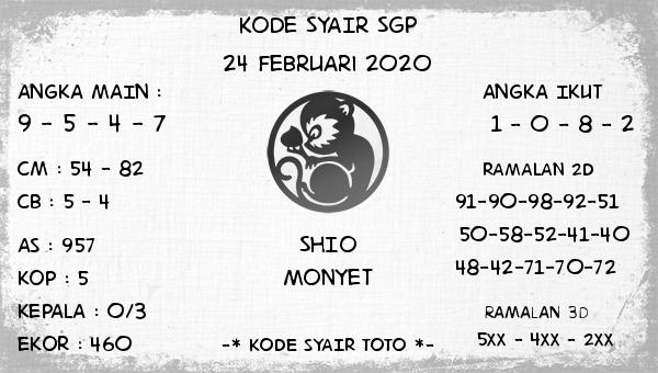 Prediksi Togel JP Singapura 24 Februari 2020 - Kode Syair Toto